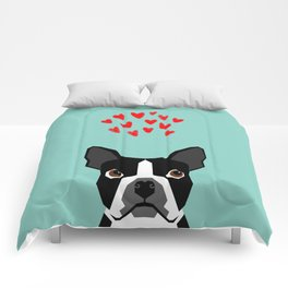 Boston Terrier - Hearts, Cute Funny Dog Cute Valentines Dog, Pet, Cute, Animal, Dog Love,  Comforters
