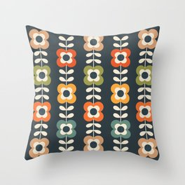 MOD FLOWERS in RETRO COLORS on CHARCOAL Throw Pillow