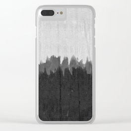 Black and Grey Grungy Smear Clear iPhone Case