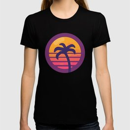 Miami Retro Palm Tree - Retrowave T-shirt