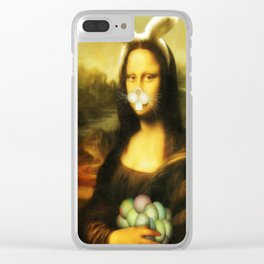 Easter Mona Lisa with Whiskers and Bunny Ears Clear iPhone Case