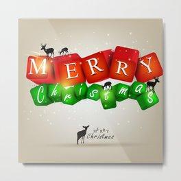 Merry Christmas 3D with Deers Metal Print