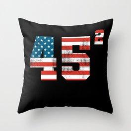 45 Squared - Donald Trump 2020 USA Flag Throw Pillow
