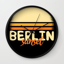 Retro Vintage 70s Sunset Berlin T-Shirt Gift Wall Clock