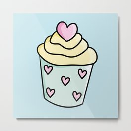 Cupcakes with yellow cream and heart Metal Print
