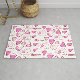 The Perfect Pizza Slices! Cartoon Black and White Pattern Rug