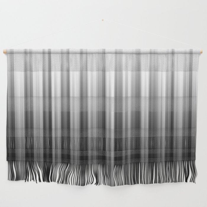 Black And White Soft Blurred Vertical Lines - Ombre Abstract Blurred Design Wall Hanging