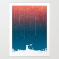 rain Art Prints featuring Meteor Rain (light version) by Picomodi