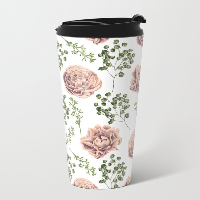 Roses Pattern on White Metal Travel Mug
