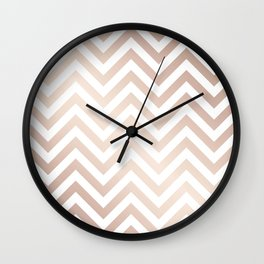 Chevron rose gold and white Wall Clock