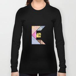 Collaged Tangram Alphabet - E Long Sleeve T-shirt