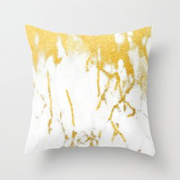 White Chocolate Marble Drizzled With Gold Veins Throw Pillow