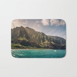 Na Pali Coast Kauai Hawaii Printable Wall Art | Tropical Beach Nature Ocean Coastal Travel Photography Print Bath Mat
