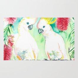 Cockatoos in bottle brush tree Rug