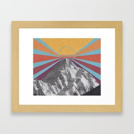 Retro Mountain Sunburst / K2 Framed Art Print