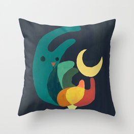 Rabbit and crescent moon Throw Pillow