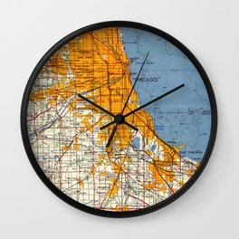 Chicago Colorful Map year 1957 Wall Clock