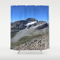 archan nair Shower Curtains featuring Piz Nair View by Helle Gade