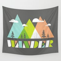 wander Wall Tapestries featuring Wander  by Jenny Tiffany