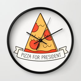 Pizza For President Wall Clock