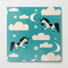 Unicorn Teal Metal Print