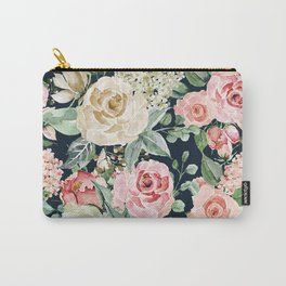 Pink Creme Rose Watercolor Floral Pattern Carry-All Pouch