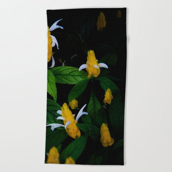 Golden shrimp plant. Flowers. Beach Towel