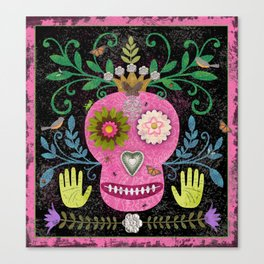 Whimsical Pink Skull Canvas Print