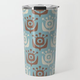 Mid Century Modern Retro Flower Pattern Blue and Brown 931 Travel Mug