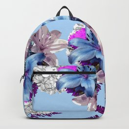 LILY SILVER BLUE AND PURPLE WITH WHITE HYDRANGEAS Backpack