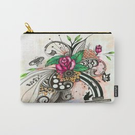 "Pen and ink drawing illustration,""The Rose"", home decor, wall art,ink art,colorful Carry-All Pouch"