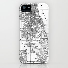 Vintage Map of Florida (1909) BW iPhone Case