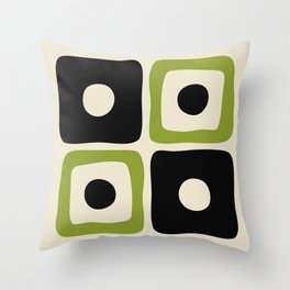 Mid Century Modern Square Dot Pattern 592 Black and Chartreuse Throw Pillow