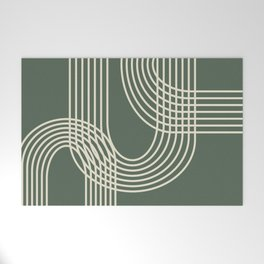 Minimalist Lines in Forest Green Welcome Mat