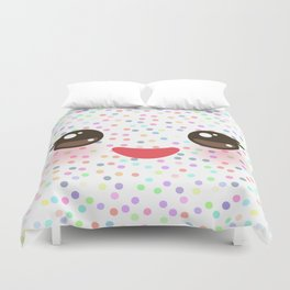 Kawaii funny muzzle with pink cheeks and eyes on white polka dot background Duvet Cover