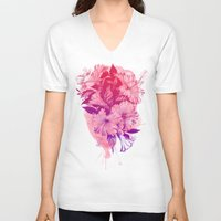 hibiscus V-neck T-shirts featuring Hibiscus by Magenda