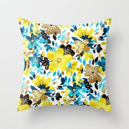 Happy Yellow Flower Collage Throw Pillow