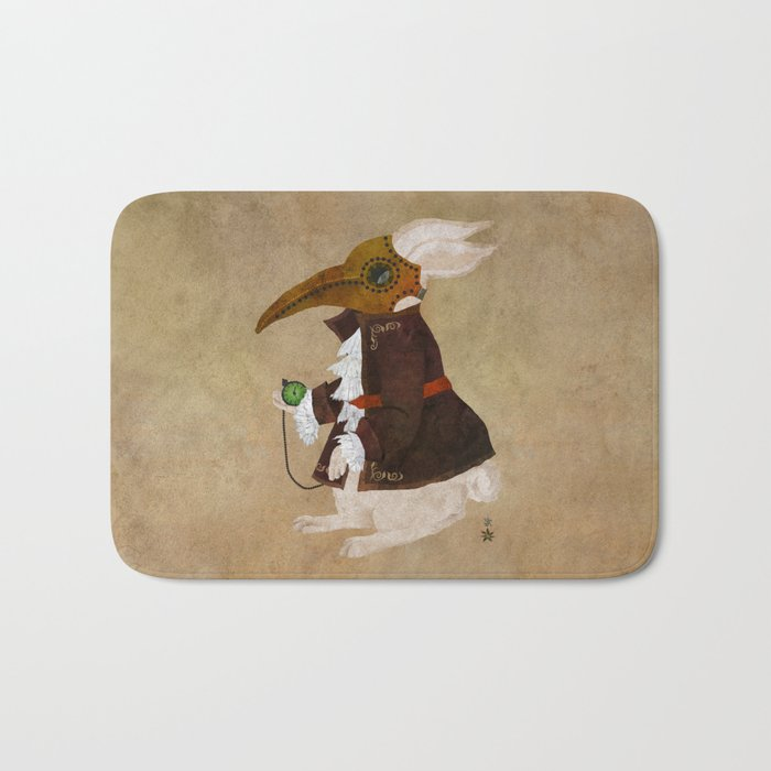 'Postapocalyptic' style White Rabbit (Alice in Wonderland) Bath Mat