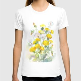 Watercolor yellow flowers dandelions T-shirt