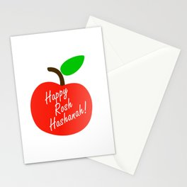 Rosh Hashanah inside an red apple or Jewish Near year greetings Stationery Cards