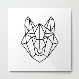 geometric wolf portrait Metal Print