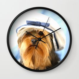 Little Sailor Yorkshireterrier With Sailor Hat #decor #society6 Wall Clock