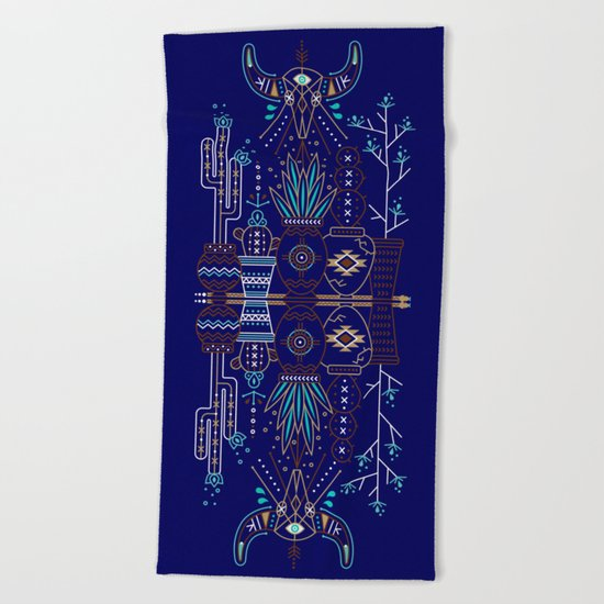 Santa Fe Garden – Navy Beach Towel
