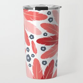South Western Feather Fans and Flowers in Modern Red Coral and Slate Blue Gray Travel Mug
