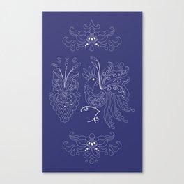 Folklore Rooster - Swedish Folk Art Canvas Print