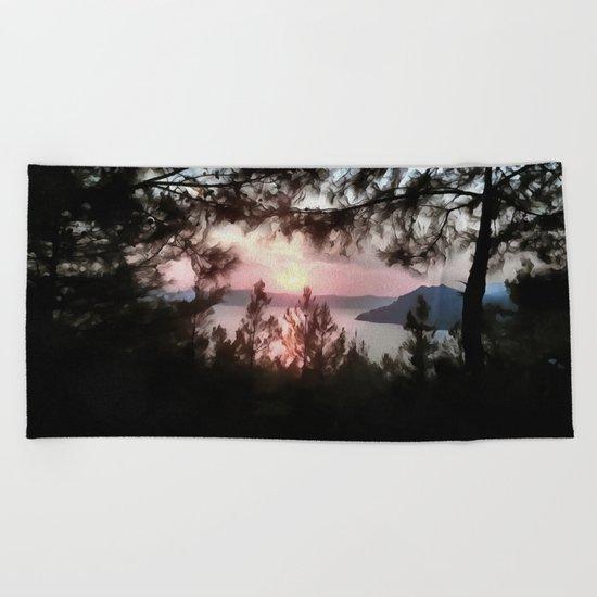 Solemn Sunset  Beach Towel