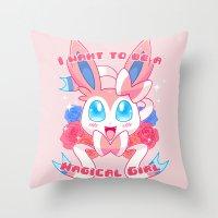 sylveon Throw Pillows featuring Magical Girl Sylveon by Anjila