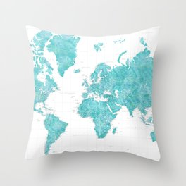 Highly detailed watercolor world map in aquamarine Throw Pillow