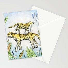 Jaguar illustration baloon party jungle nature Stationery Cards