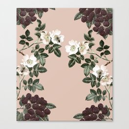 Bee Blackberry Bramble Coral Pink Canvas Print
